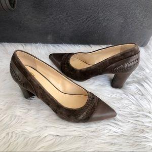 C Wonder brown leather heels, size 10M